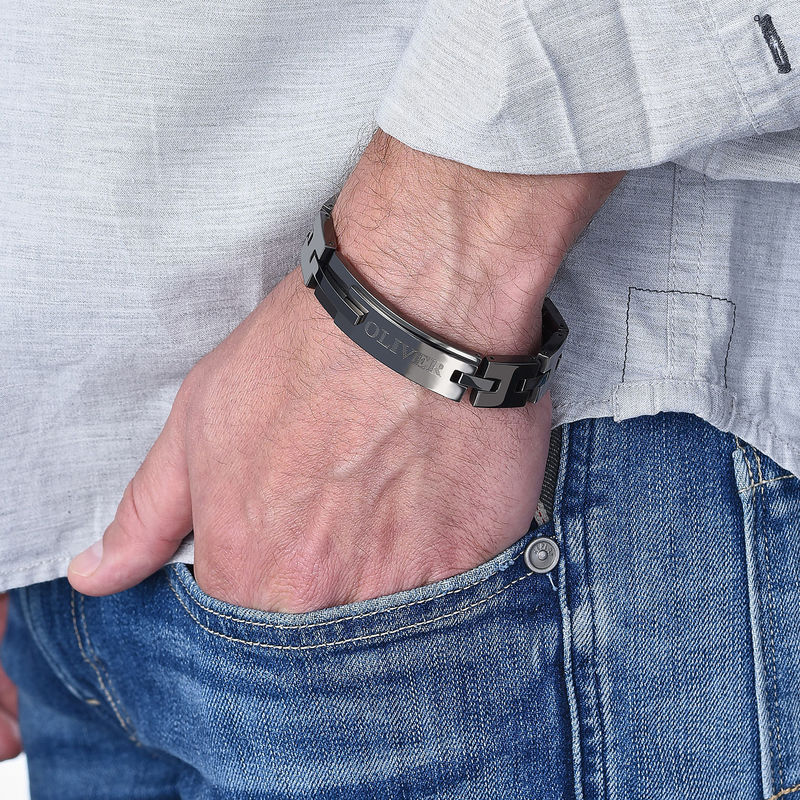 Black Stainless Steel Man Bracelet with Engraving - 1