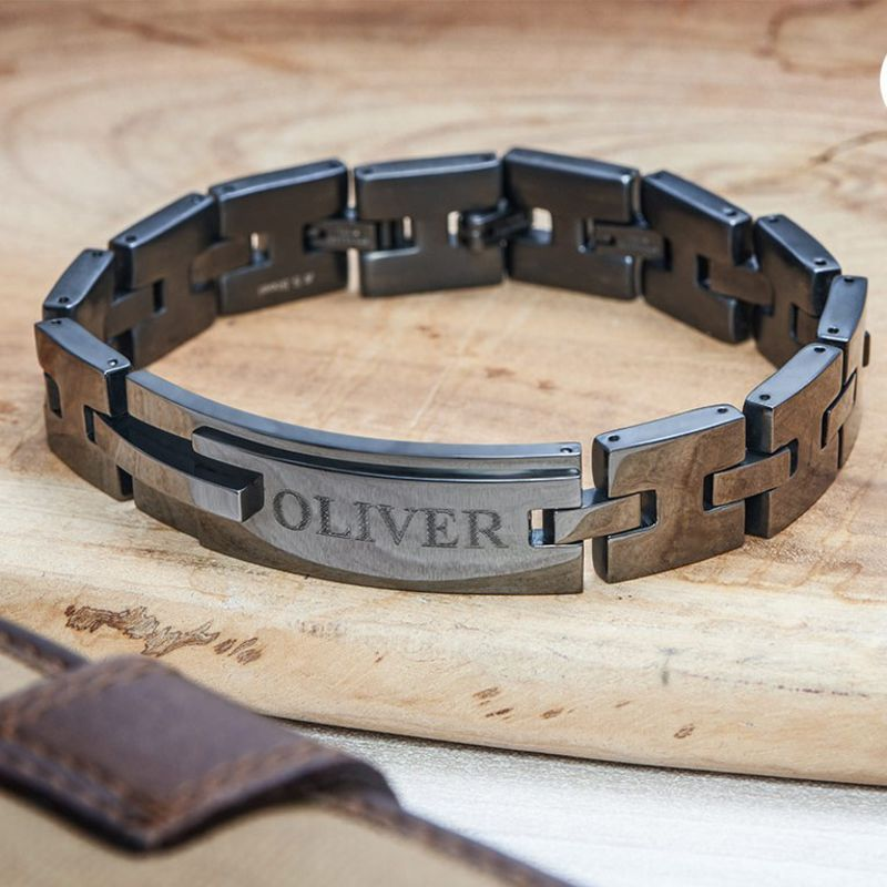 Black Stainless Steel Man Bracelet with Engraving - 3