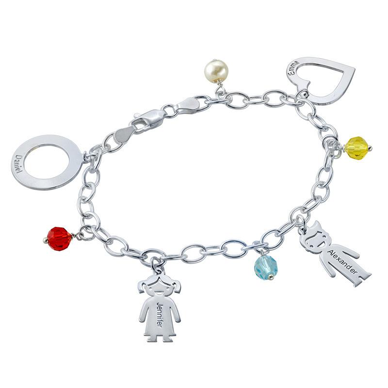 Silver Engraved Charm Mother Bracelet