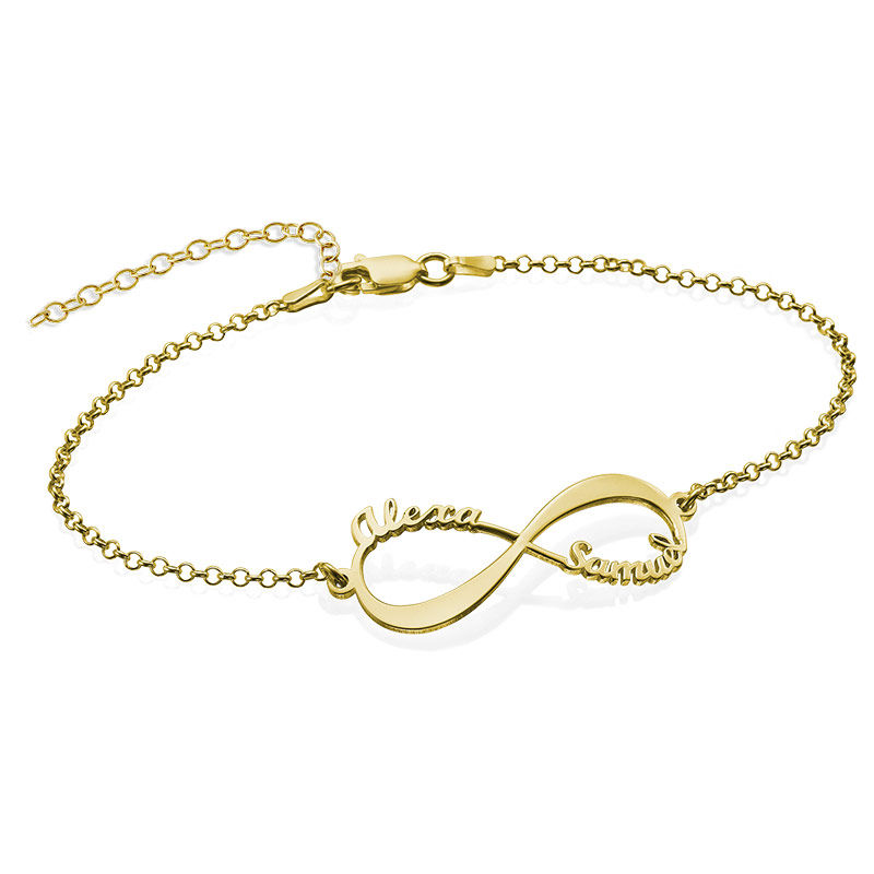 Infinity Bracelet with Names - 18K Gold Plated