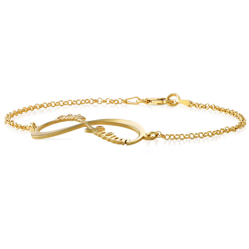 Infinity Bracelet with Names - 18ct Gold Plated - 1