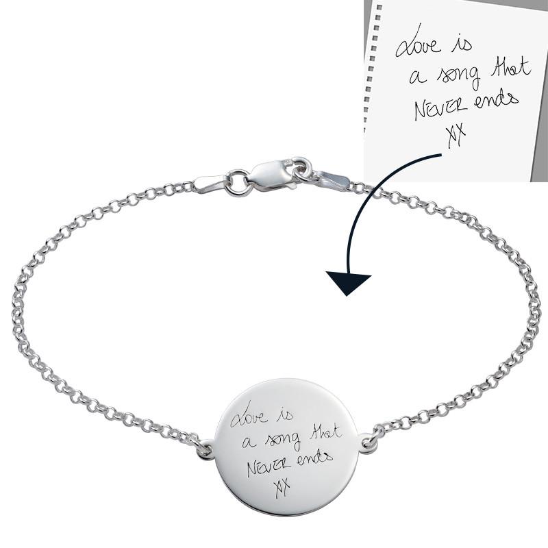 Engraved Handwriting Bracelet - Disc Shaped - 1