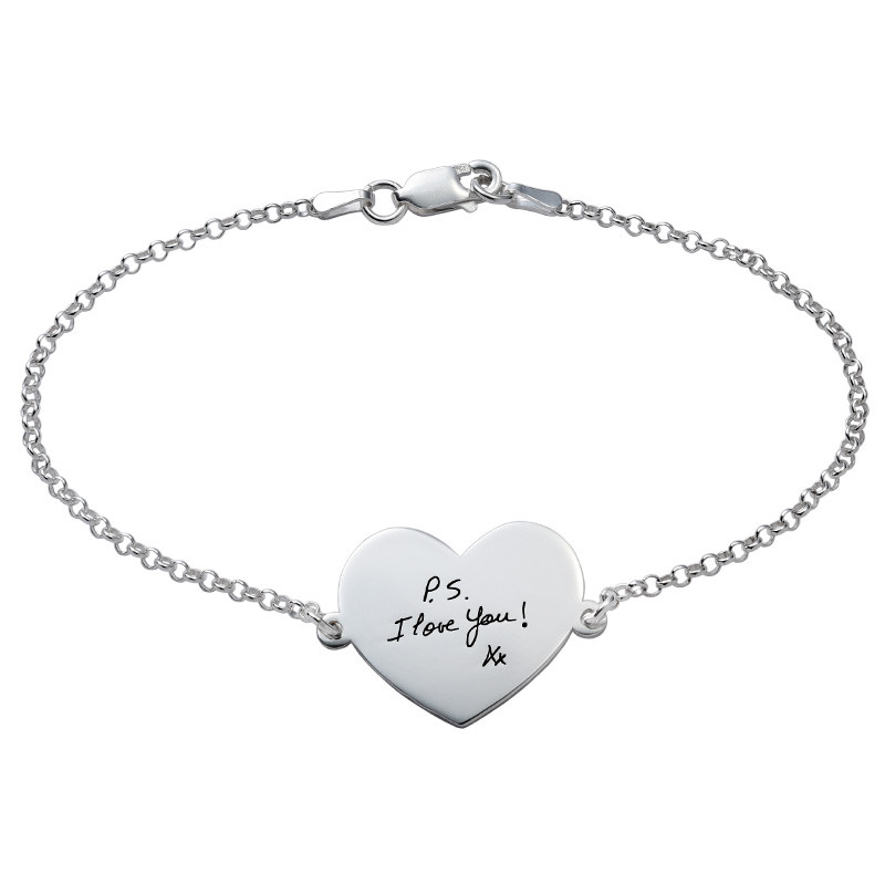 Engraved Handwriting Bracelet - Heart Shaped