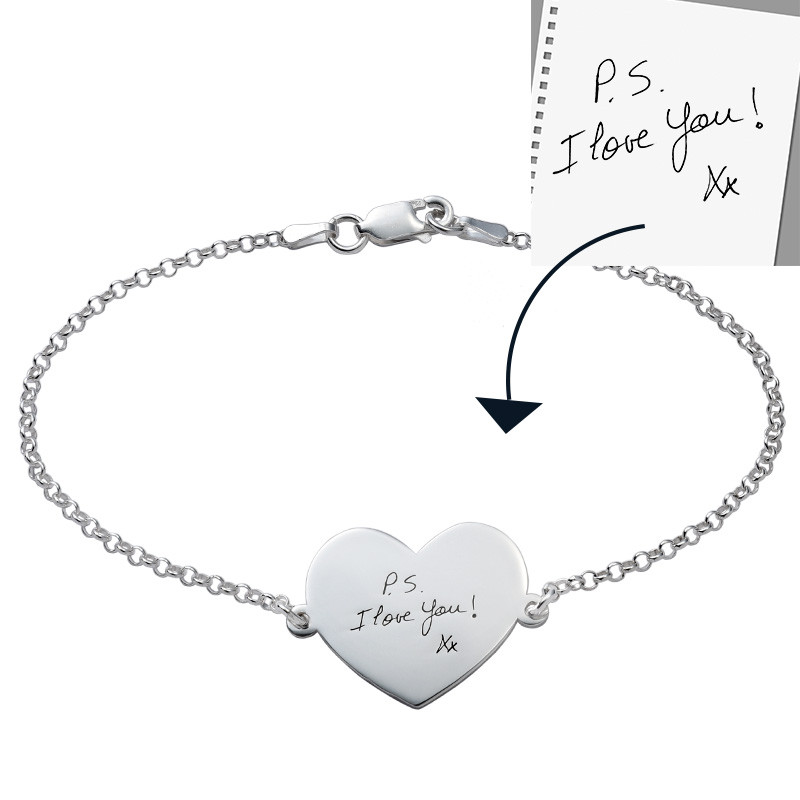 Engraved Handwriting Bracelet - Heart Shaped - 1