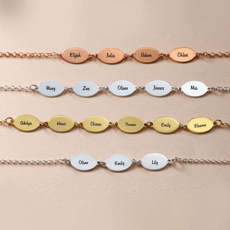 Gold Plated Mum Bracelet with Kids Names - Oval Design - 1 - 2 - 3