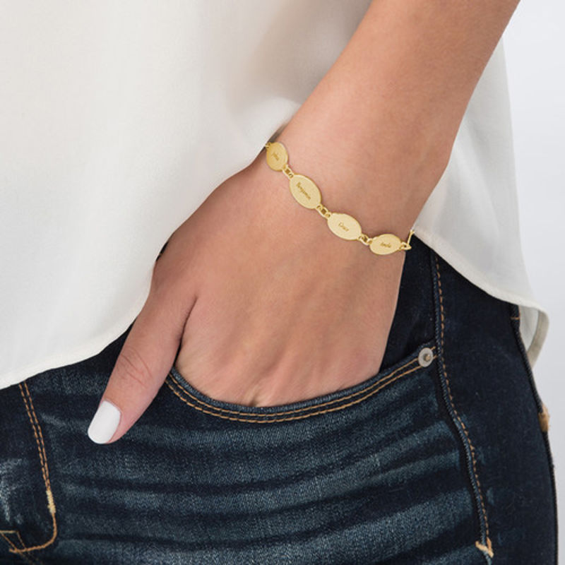 Gold Plated Mum Bracelet with Kids Names - Oval Design - 1 - 2 - 3 - 4
