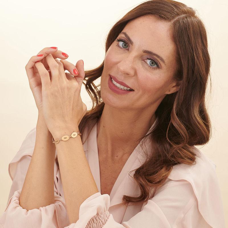 Rose Gold Plated Mum Bracelet with Kids Names - Oval Design - 1 - 2 - 3 - 4 - 5