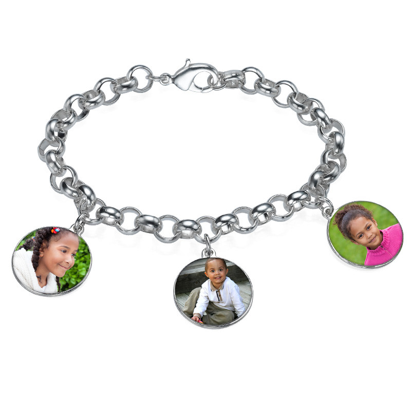 Round Shaped Photo Charm Bracelet