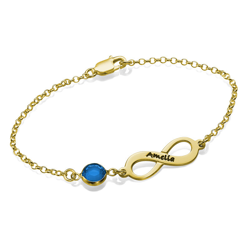 Infinity Birthstone Bracelet in Gold Plating