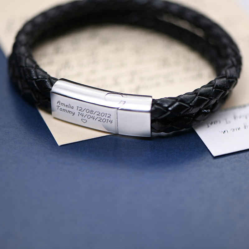 Engraved Bracelet for Men in Stainless Steel and black leather - 3