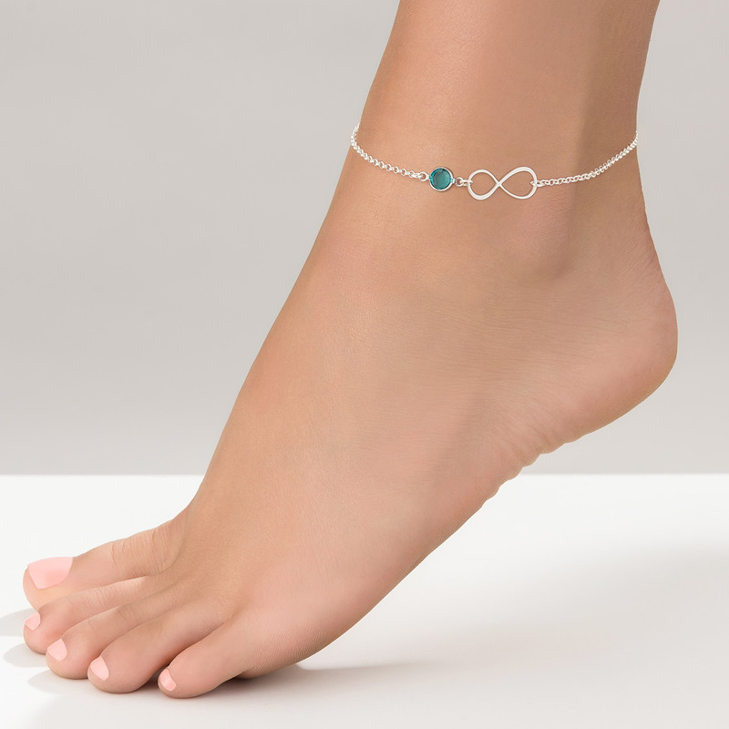Infinity Ankle Bracelet in Silver with birthstone - 1 - 2