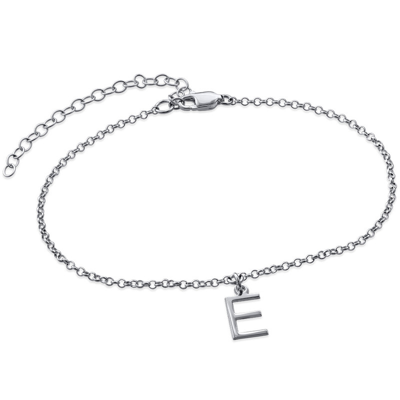 Ankle Bracelet with Initial in Silver