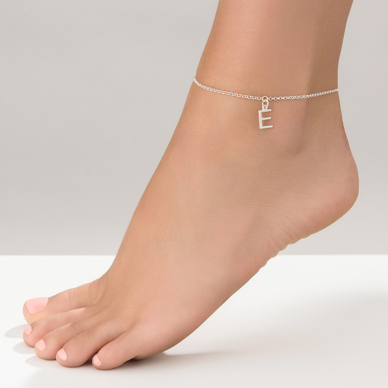 Ankle Bracelet with Initial in Silver - 2