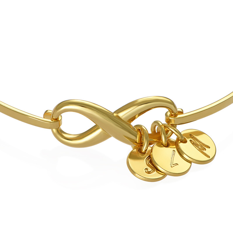 Infinity Bangle Bracelet with Initial Charms in Gold Plating - 1