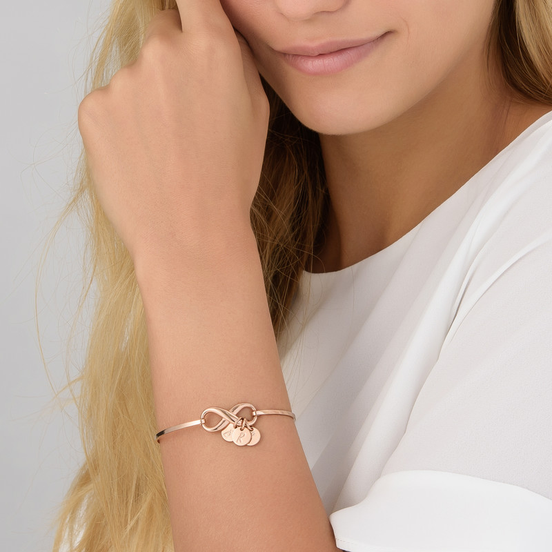 Infinity Bangle Bracelet with Initial Charms in Rose Gold Plating - 3