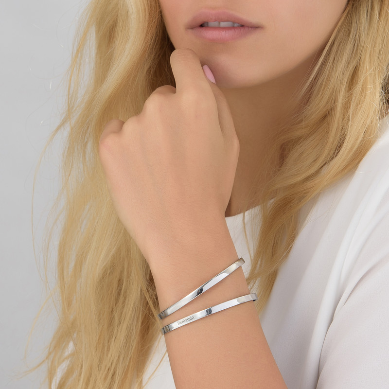 Engraved Infinite Love Bracelet in Silver - 1