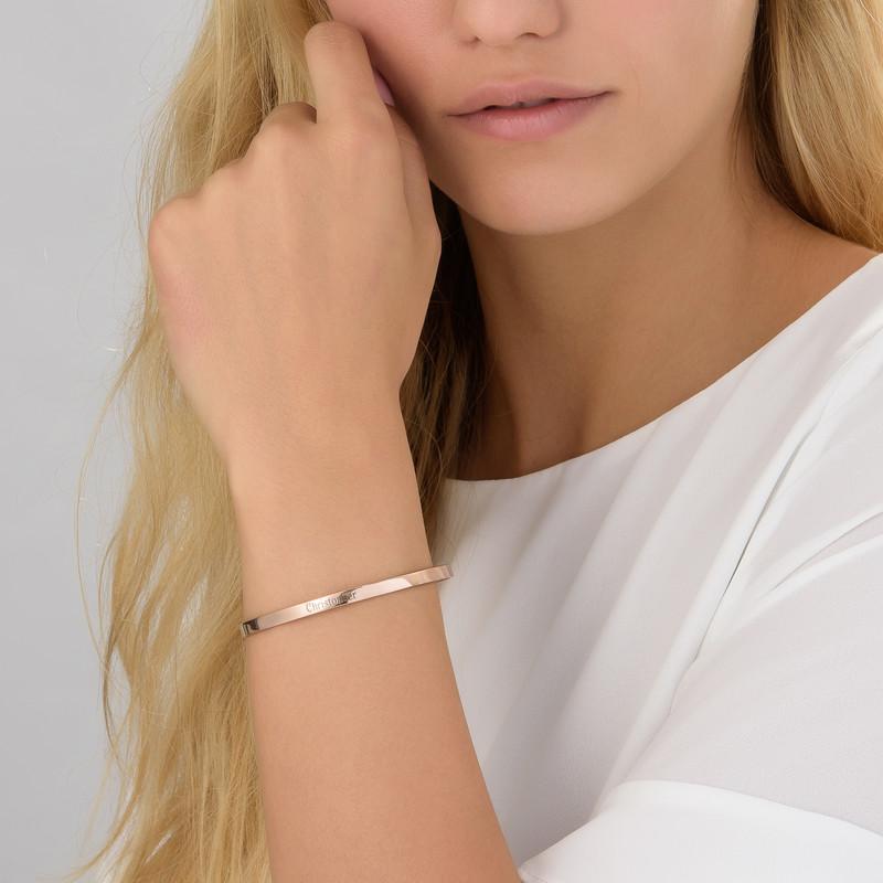 18ct Rose Gold Plated Engraved Infinite Love Bracelet - 1