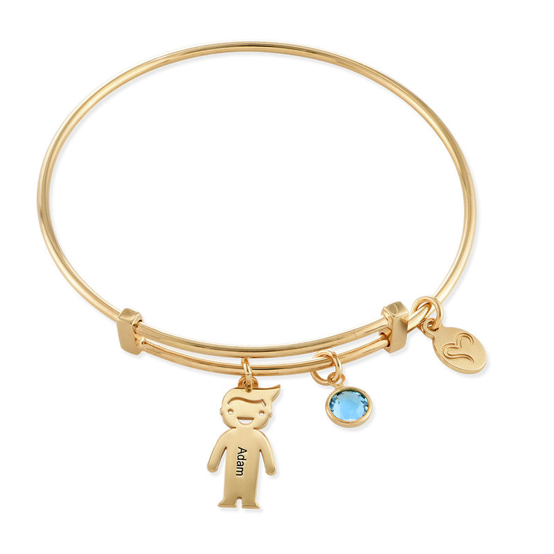 Gold Plated Bangle Bracelet with Kids Charms - 1