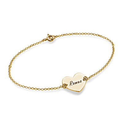 18ct Gold Plated Engraved Couples Heart Bracelet