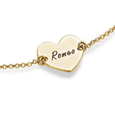 18ct Gold Plated Engraved Couples Heart Bracelet - 1