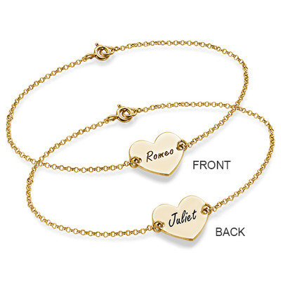18ct Gold Plated Engraved Couples Heart Bracelet - 2