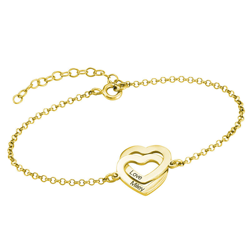 Interlocking Hearts Bracelet with 18ct Gold Plating - 1