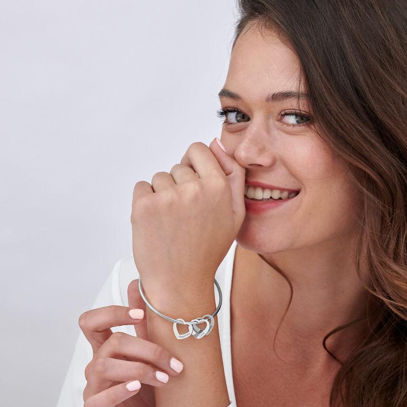 Bangle Bracelet with Heart Shape Pendants in Silver - 3