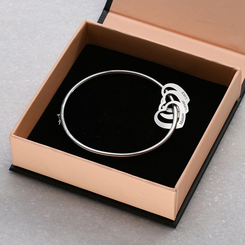 Bangle Bracelet with Heart Shape Pendants in Silver - 6