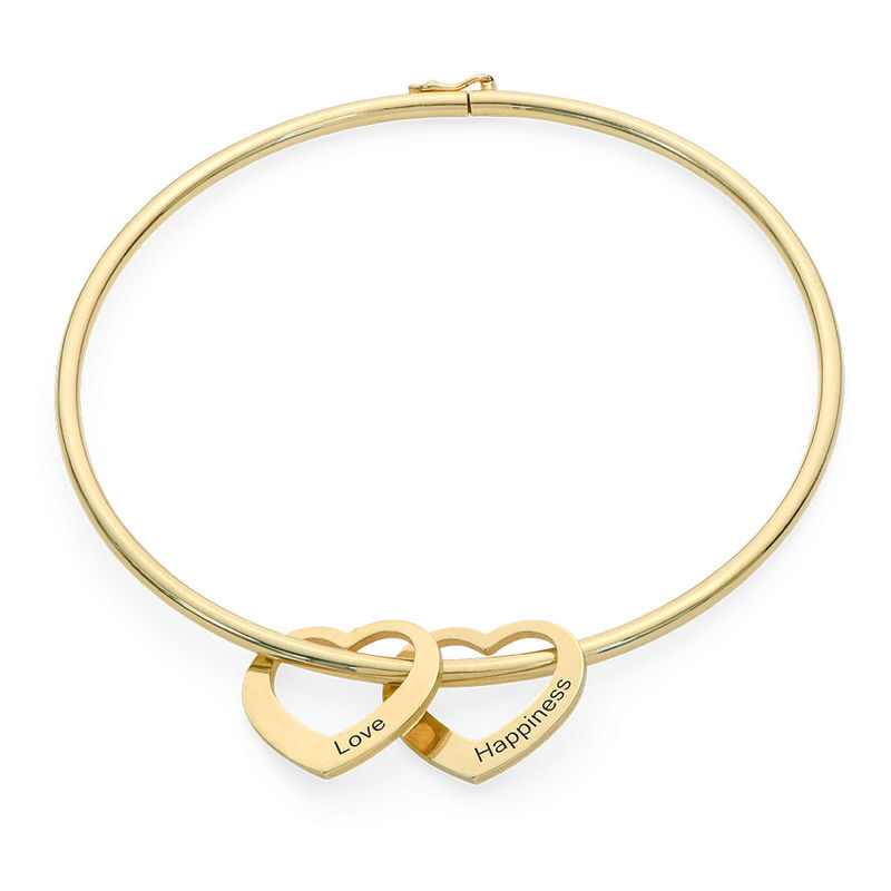 Bangle Bracelet with Heart Shape Pendants in Gold Plating - 1