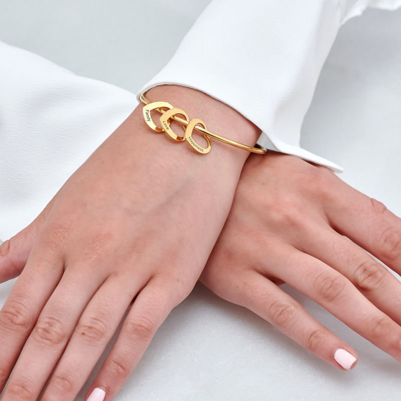Bangle Bracelet with Heart Shape Pendants in Gold Plating - 4
