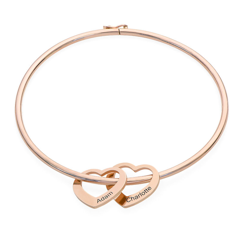 Bangle Bracelet with Heart Shape Pendants in Rose Gold Plating - 1
