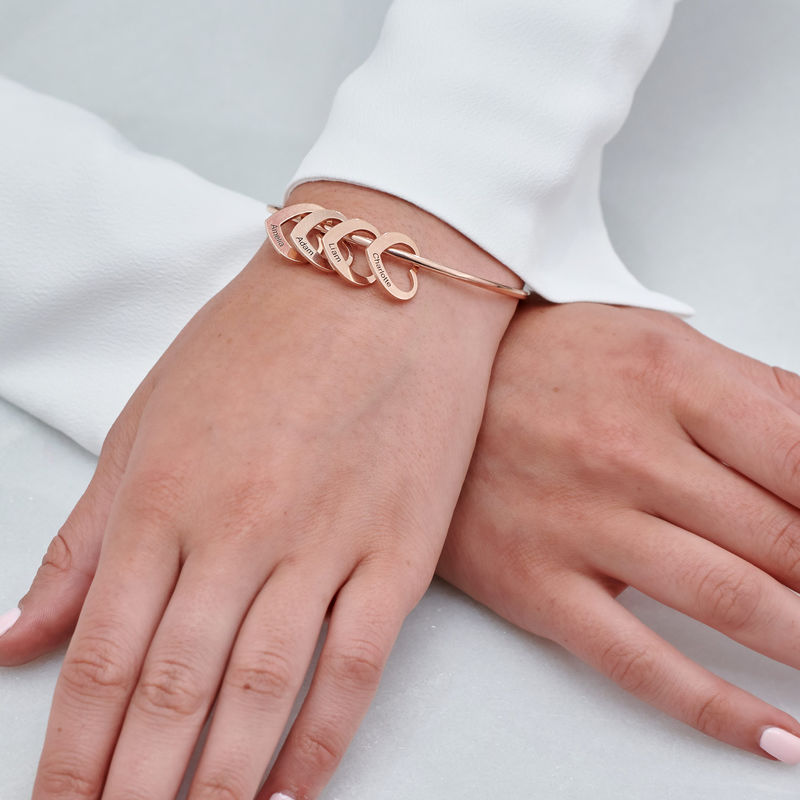 Bangle Bracelet with Heart Shape Pendants in Rose Gold Plating - 4