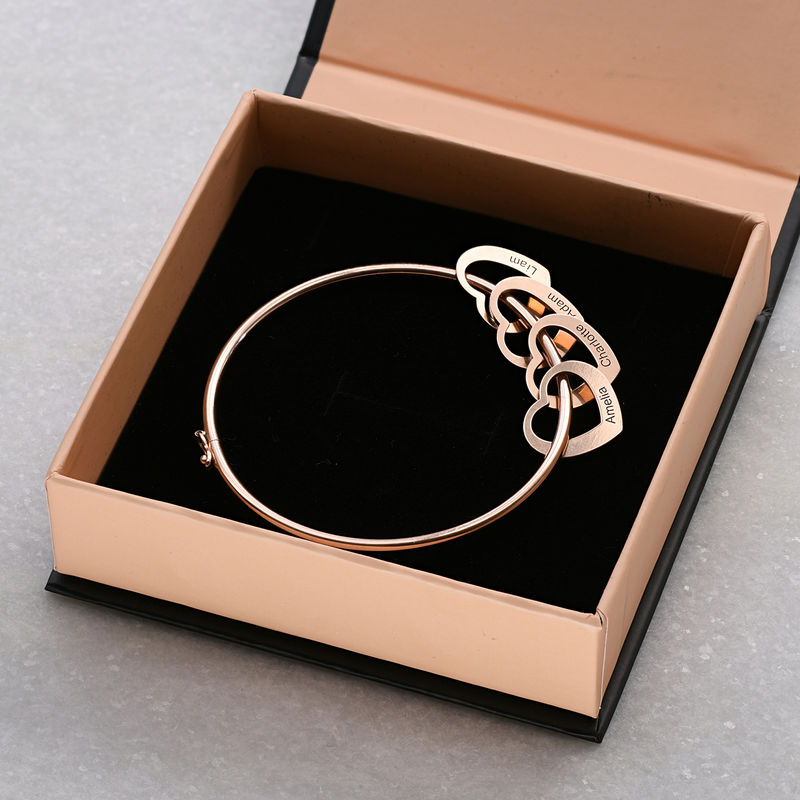 Bangle Bracelet with Heart Shape Pendants in Rose Gold Plating - 5