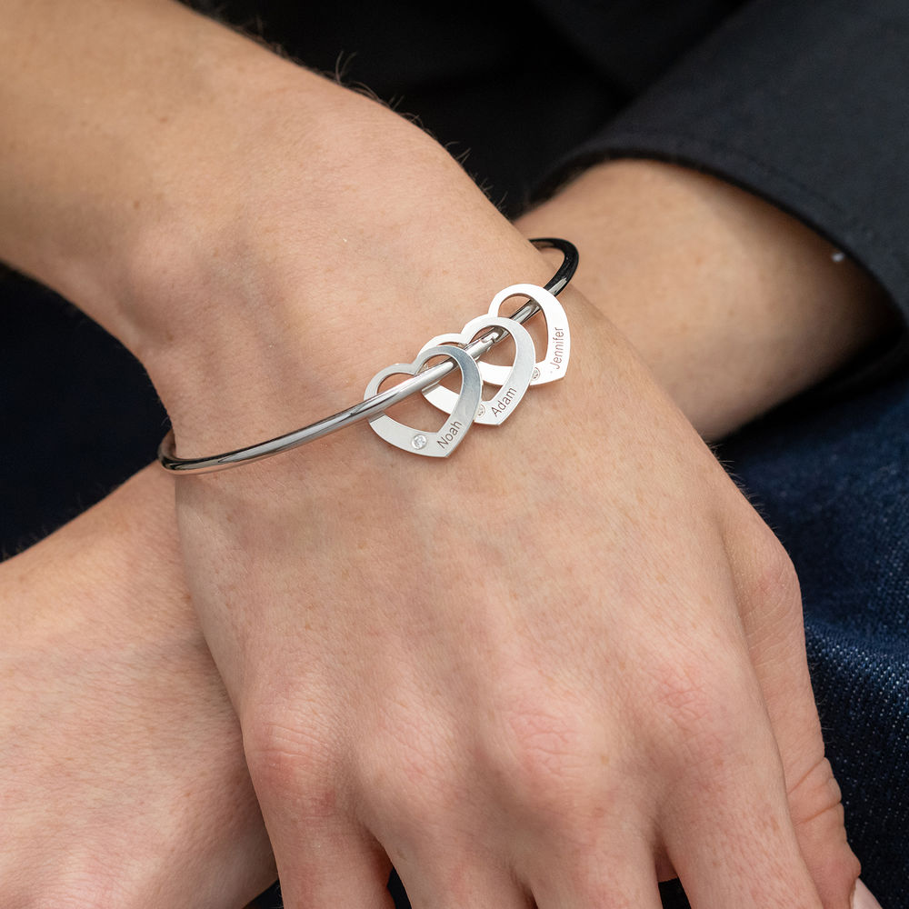 Bangle Bracelet with Heart Shape Pendants in Silver with Diamonds - 3