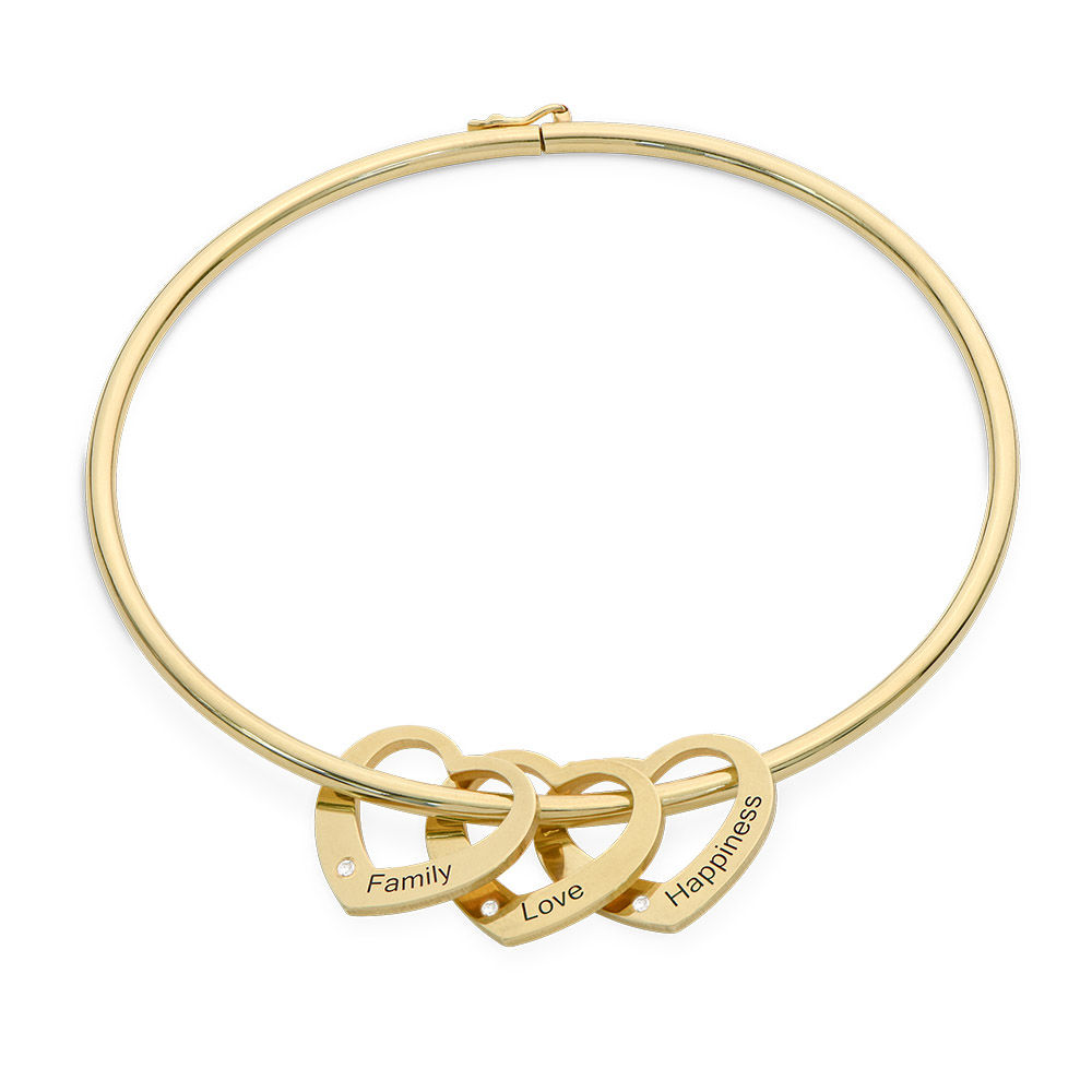 Bangle Bracelet with Heart Shape Pendants in Gold Plated with Diamonds