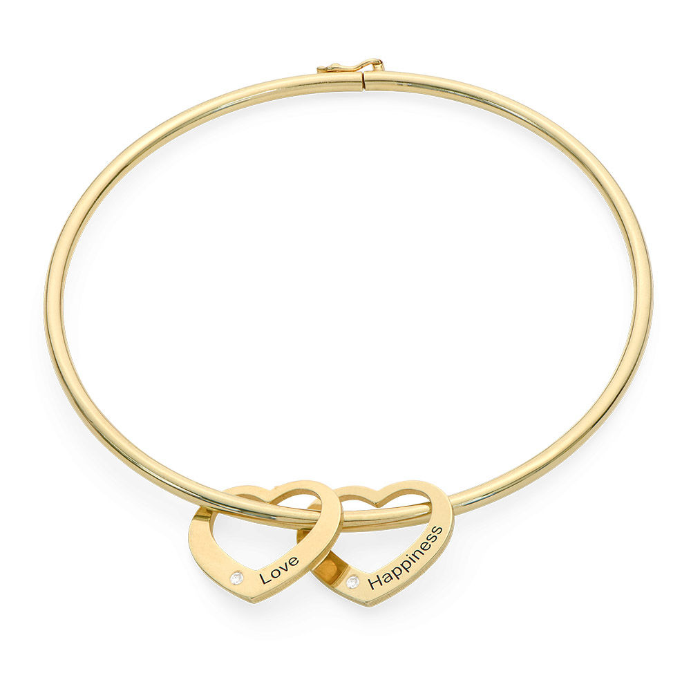 Bangle Bracelet with Heart Shape Pendants in Gold Plated with Diamonds - 1