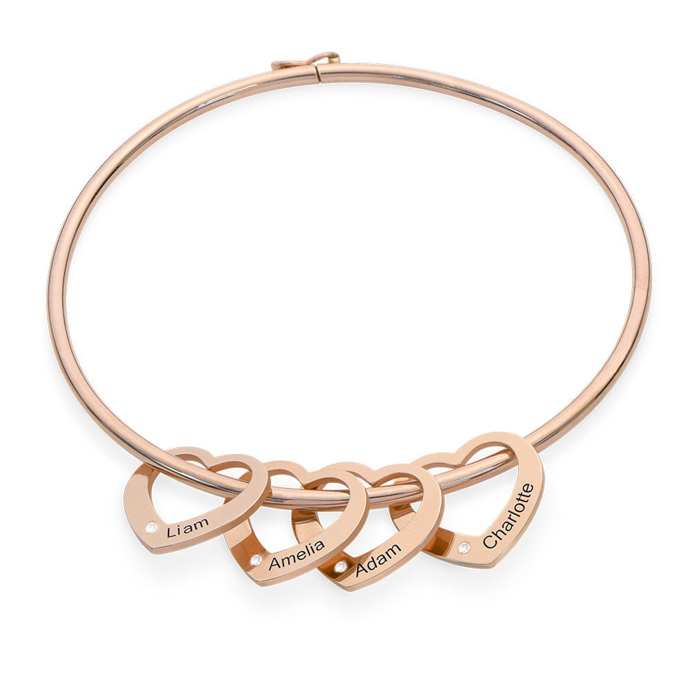 Bangle Bracelet with Heart Shape Pendants in Rose Gold Plated with Diamonds