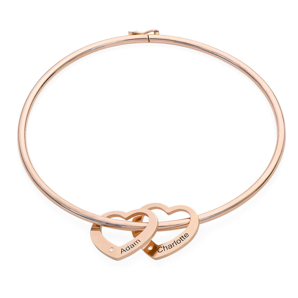 Bangle Bracelet with Heart Shape Pendants in Rose Gold Plated with Diamonds - 1