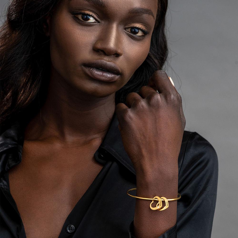 Bangle Bracelet with Heart Shape Pendants in Gold Vermeil with Diamonds - 2