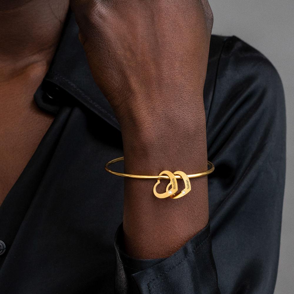 Bangle Bracelet with Heart Shape Pendants in Gold Vermeil with Diamonds - 3