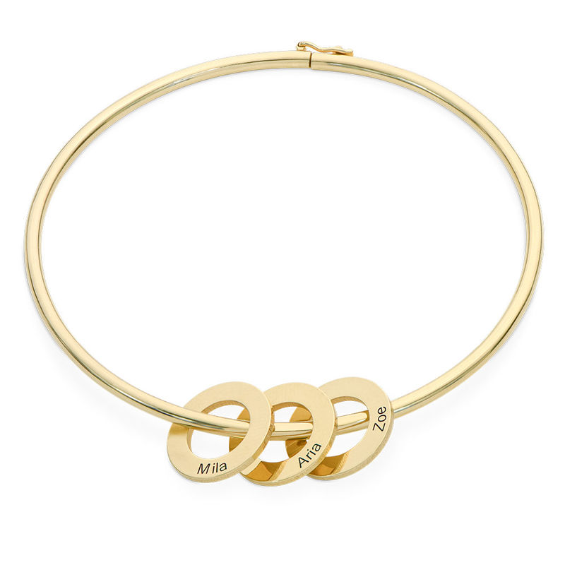 Bangle Bracelet with Round Shape Pendants in Gold Plating - 1
