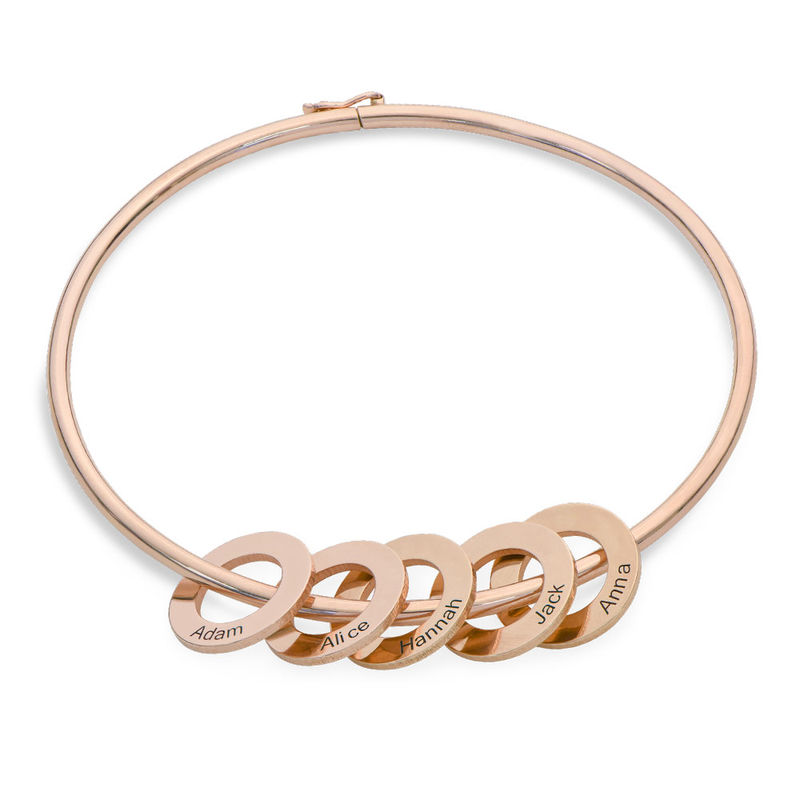 Bangle Bracelet with Round Shape Pendants in Rose Gold Plating