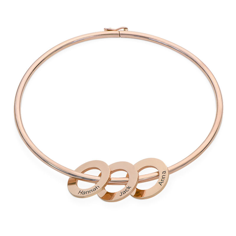 Bangle Bracelet with Round Shape Pendants in Rose Gold Plating - 1