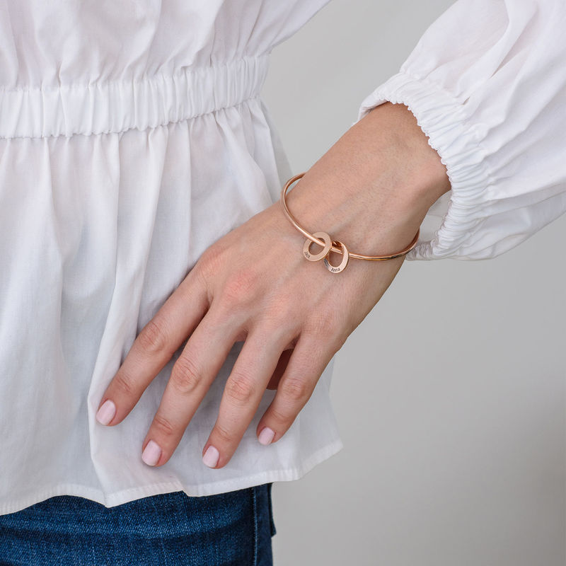 Bangle Bracelet with Round Shape Pendants in Rose Gold Plating - 2