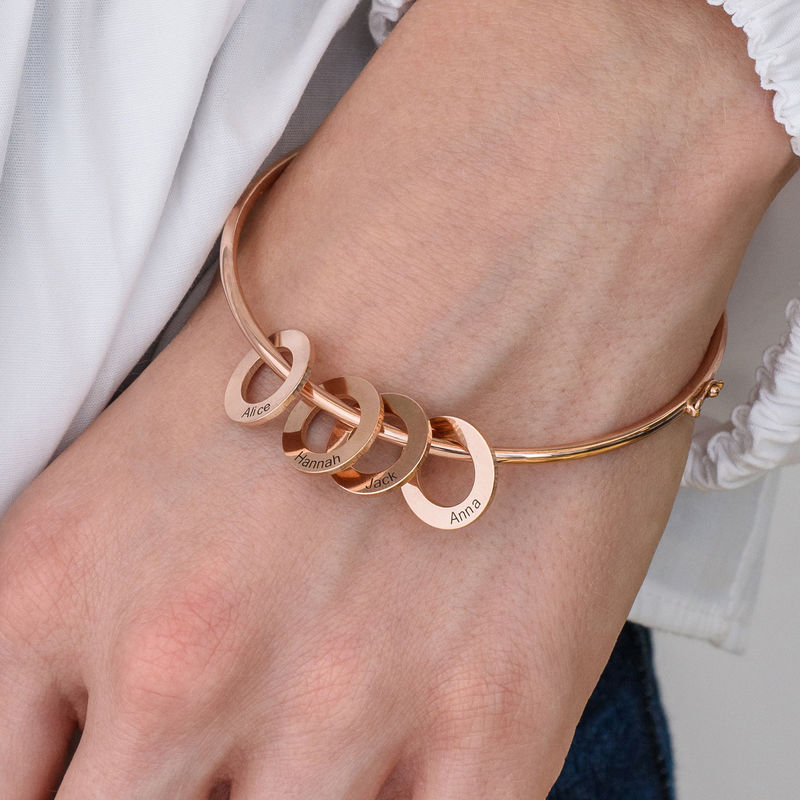 Bangle Bracelet with Round Shape Pendants in Rose Gold Plating - 3