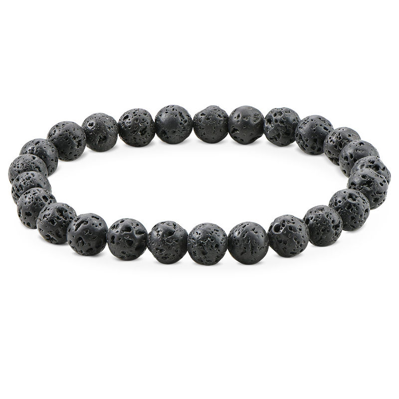 Lava Stone Men's Beaded Bracelet