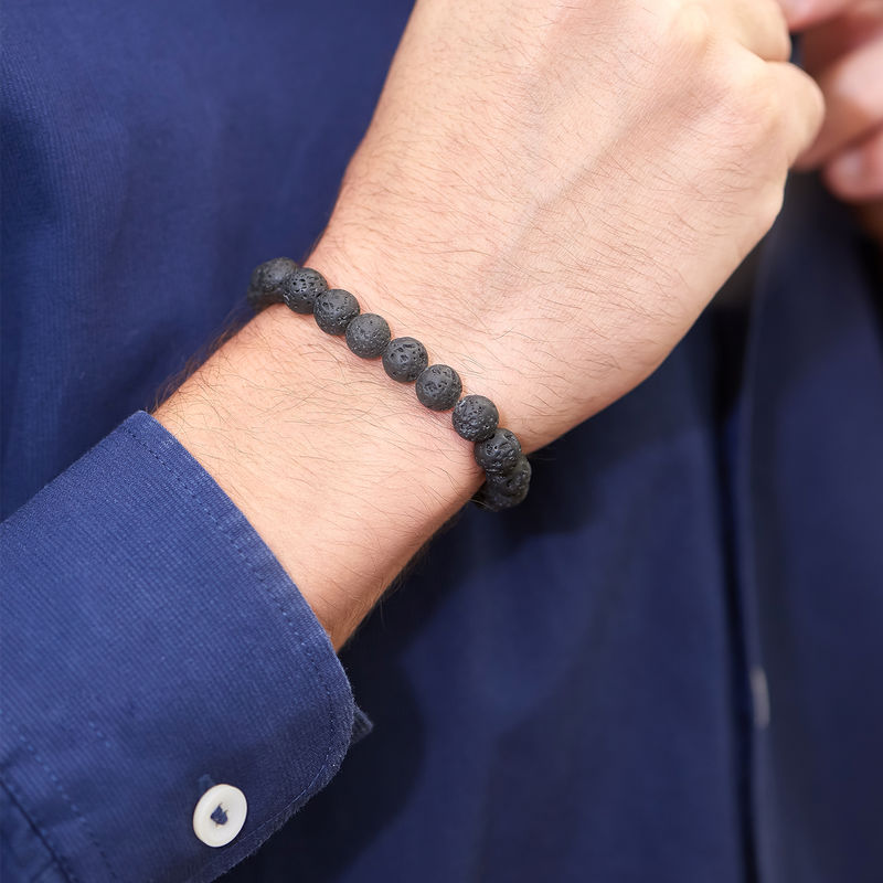 Lava Stone Men's Beaded Bracelet - 1