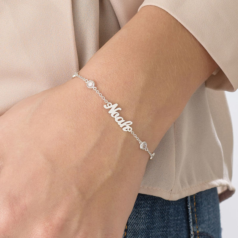 Name Bracelet with Clear Crystal Stone in Silver - 2