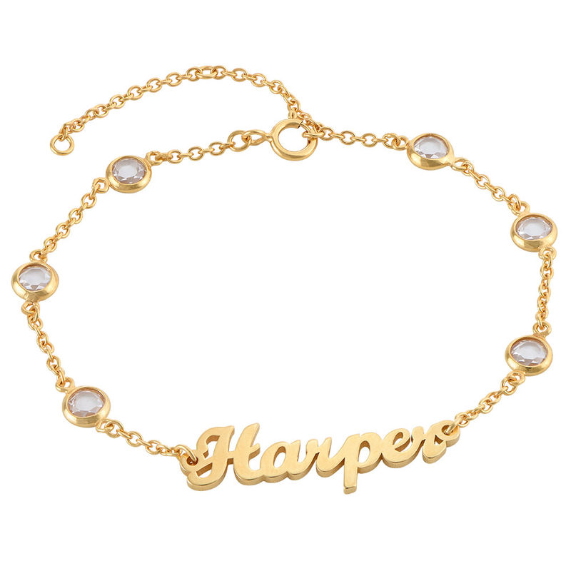 Name Bracelet with Clear Crystal Stone in Gold Plating