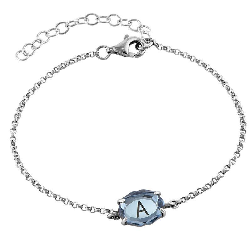 Swarovski Stone Engraved Bracelet in Silver